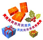 Christmas gift boxes set Royalty Free Stock Photography