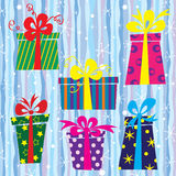 Christmas gift boxes set Royalty Free Stock Photos