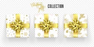 Christmas gift box golden bow ribbon vector icons set New Year greeting. Christmas gift boxes set, golden ribbon bow and gold snowflakes and crystals wrapper Stock Images