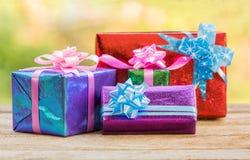 Christmas gift boxes. Stock Photos