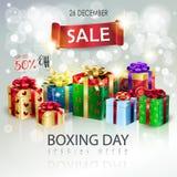 Boxing Day Sale Christmas silver bokeh lights wallpaper vector illustration