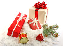 Christmas gift boxes on snow Royalty Free Stock Images