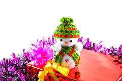 Christmas gift boxes and snowman Royalty Free Stock Images