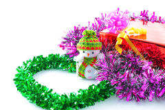 Christmas gift boxes and snowman Royalty Free Stock Photo
