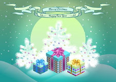 Christmas gift boxes on  snowy forest background. For design Stock Photo