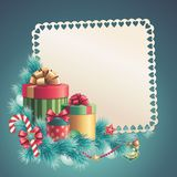 Christmas gift boxes stack, greeting card. Christmas greeting card template, Stack of gift boxes  with blank paper, illustration Royalty Free Stock Photography