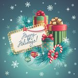 Christmas gift boxes stack, greeting text Stock Photos