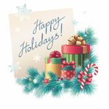 Christmas gift boxes stack, greeting text. Stack of Christmas gift boxes with greeting handwritten text on paper, illustration Royalty Free Stock Photo