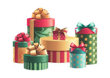 Christmas gift boxes stack isolated Royalty Free Stock Images