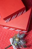 Christmas gift boxes and twig of Christmas tree on a red wrapping paper royalty free stock images
