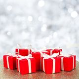 Christmas gift boxes with twinkling background Royalty Free Stock Photo