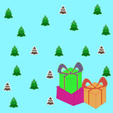 Christmas gift boxes vector picture, the background Stock Photography