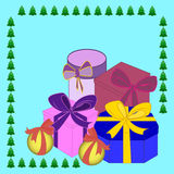 Christmas gift boxes vector picture, the background Royalty Free Stock Photos