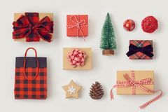 Christmas gift boxes on white background stock photo