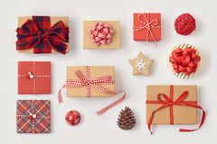 Christmas gift boxes on white background royalty free stock images