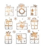 Christmas gift boxes on white glowing background. Doodle sketch vector illustration. Christmas gift boxes on white glowing background. Doodle sketch vector Stock Photo