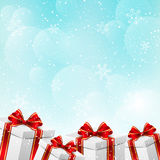 Christmas gift boxes. On winter background Royalty Free Stock Photography