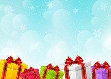 Christmas gift boxes. On winter background Stock Photography