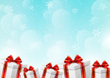 Christmas gift boxes on winter background. Christmas gift boxes on blue winter background Stock Photos
