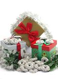 Christmas Gift Boxes With Chocolate Sweets Stock Photography