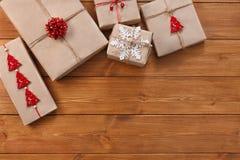 Christmas gift boxes on wood frame background Royalty Free Stock Image