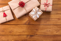 Christmas gift boxes on wood frame background Stock Photography