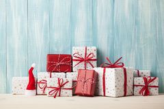 Christmas gift boxes. On wooden background Royalty Free Stock Images
