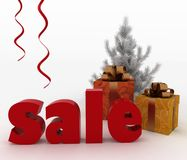 Christmas gift boxes with a word Sale Royalty Free Stock Images