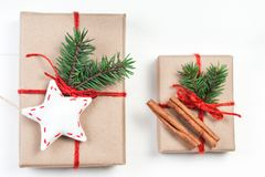 Christmas gift boxes with xmas decorations. Greeting card wiyh C Royalty Free Stock Image