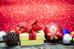 Christmas gift boxs with decoration Royalty Free Stock Images