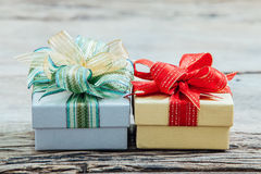 Christmas gift boxs with decoration Royalty Free Stock Image