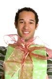 Christmas Gift Boy Royalty Free Stock Photography