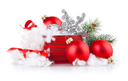 Christmas gift with branch firtree Royalty Free Stock Photos