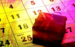 Christmas gift and calendar Royalty Free Stock Photo