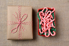 Christmas Gift Candy Cane Bowl Stock Photography