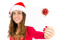 Christmas gift card presented by santa woman Royalty Free Stock Photo