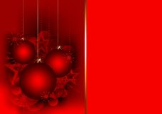 Christmas gift card with red balls Stock Photos