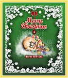 Christmas gift card with a dog . vector illustration