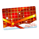 Christmas gift card template. Christmas gift discount card or flyer template plaid Royalty Free Stock Photography