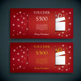 Christmas gift card voucher template with Royalty Free Stock Photos