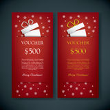 Christmas gift card voucher template with vector illustration