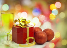 Christmas gift and champagne Royalty Free Stock Photography