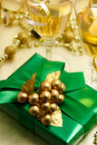 Christmas gift with champagne Royalty Free Stock Image