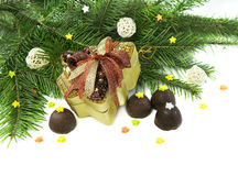 Christmas gift with chocolates and conifer Stock Photos