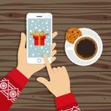 Christmas gift choosing  illustration Stock Images