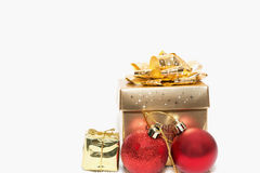 Christmas gift and christmas decorations. On white background Stock Photos