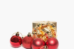 Christmas gift and christmas decorations. On white background Stock Images