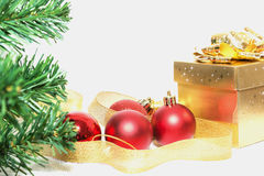 Christmas gift and christmas decorations. On white background Royalty Free Stock Photography