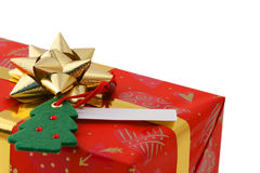 Christmas gift closeup. Christmas gift in red box closeup Royalty Free Stock Image
