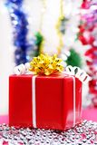 Christmas gift on a colored background Royalty Free Stock Photo